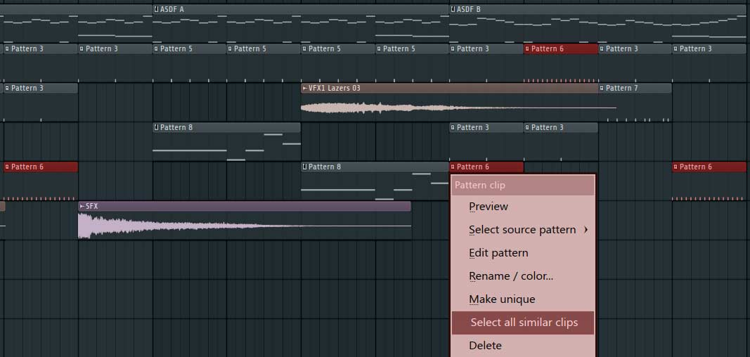 select similar clips fl studio